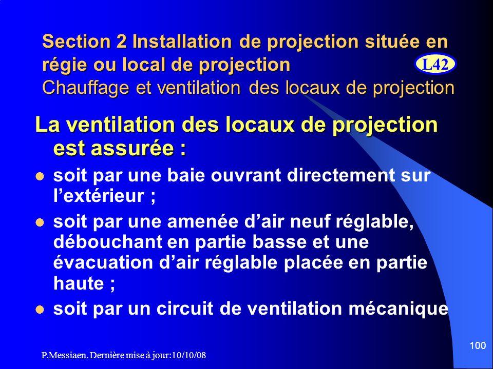 La ventilation des locaux de projection est assurée :
