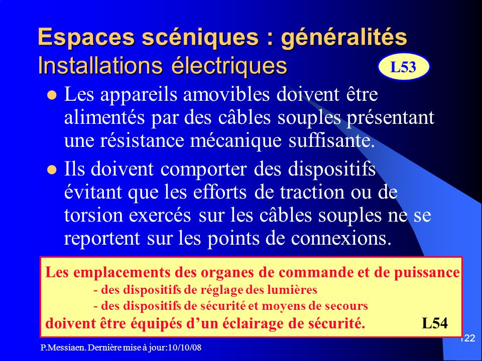 Espaces scéniques : généralités Installations électriques