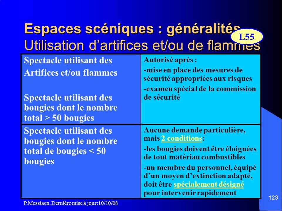 Espaces scéniques : généralités Utilisation d'artifices et/ou de flammes