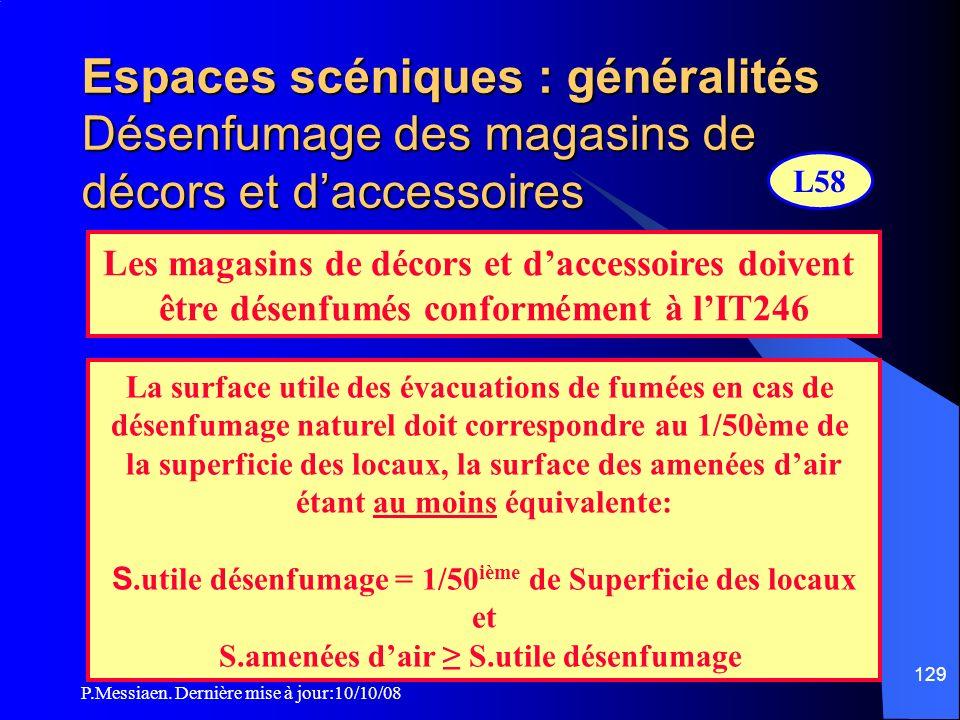 Espaces scéniques : généralités Désenfumage des magasins de décors et d'accessoires