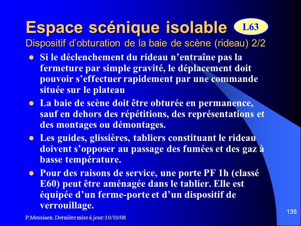Espace scénique isolable Dispositif d'obturation de la baie de scène (rideau) 2/2