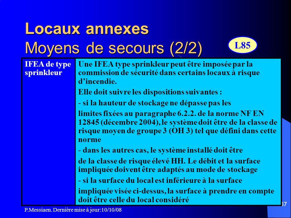 Locaux annexes Moyens de secours (2/2)