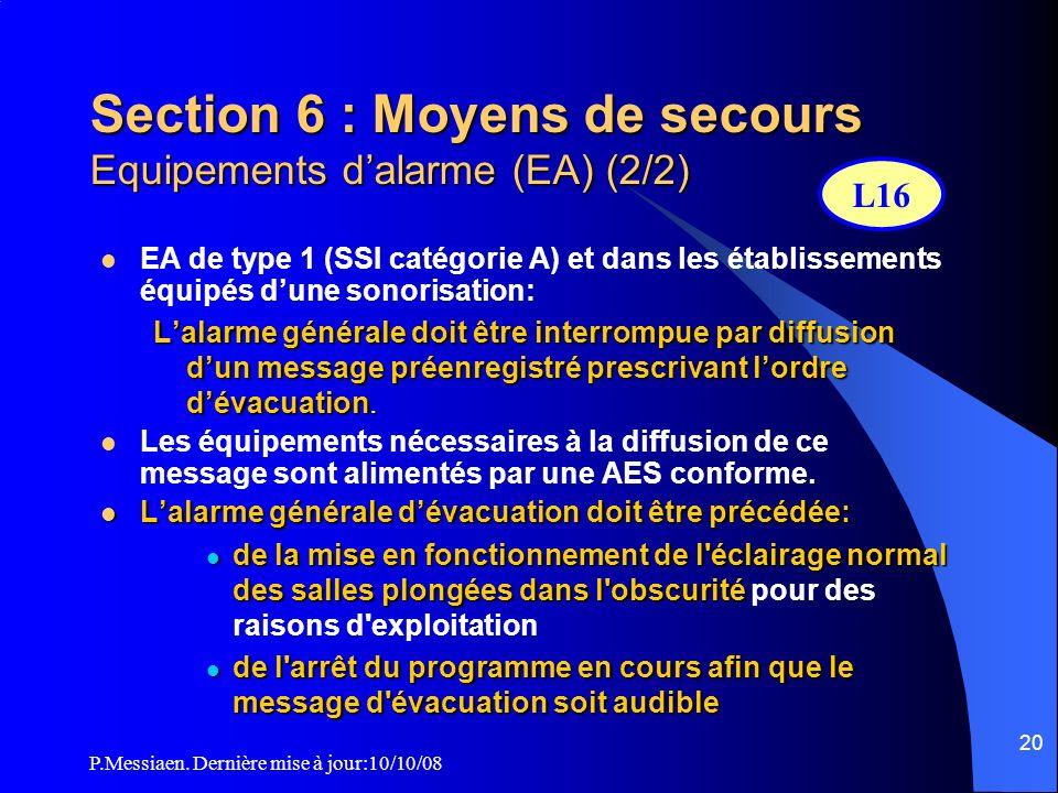 Section 6 : Moyens de secours Equipements d'alarme (EA) (2/2)