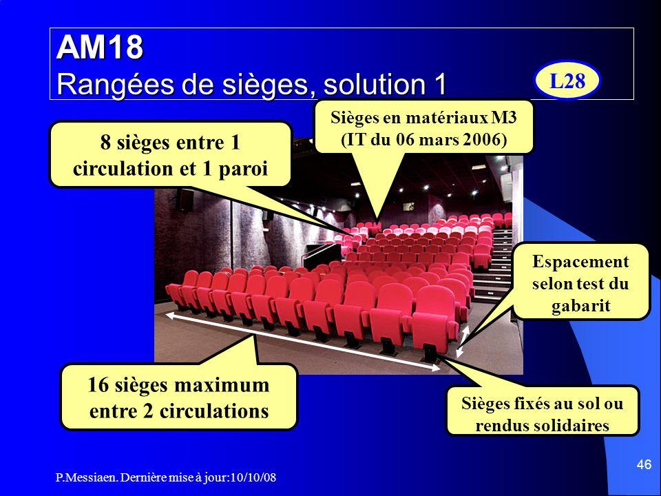 AM18 Rangées de sièges, solution 1