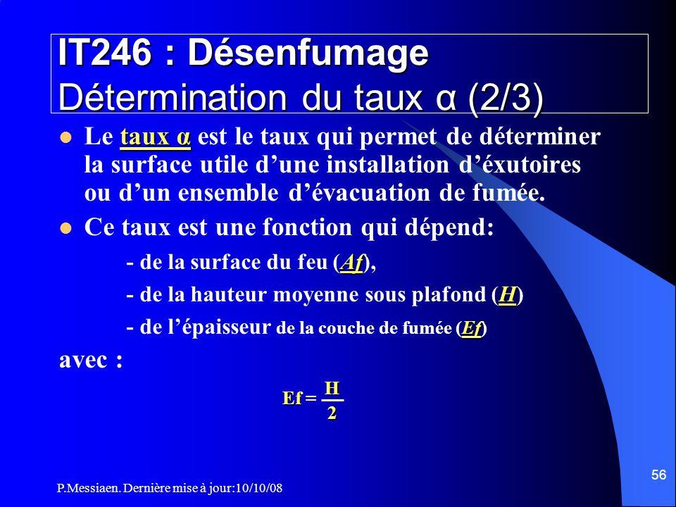 IT246 : Désenfumage Détermination du taux α (2/3)