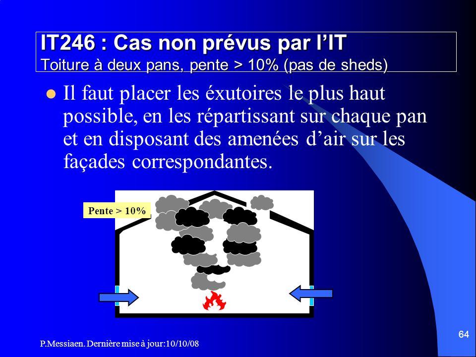 IT246 : Cas non prévus par l'IT Toiture à deux pans, pente > 10% (pas de sheds)