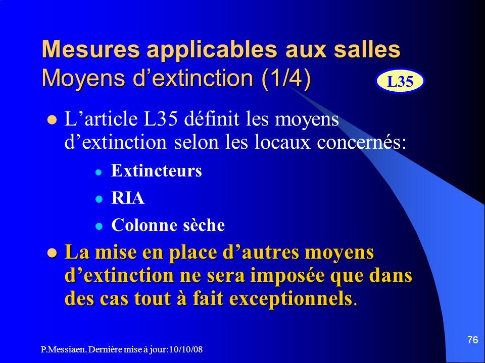 Mesures applicables aux salles Moyens d'extinction (1/4)