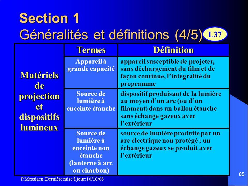 Section 1 Généralités et définitions (4/5)