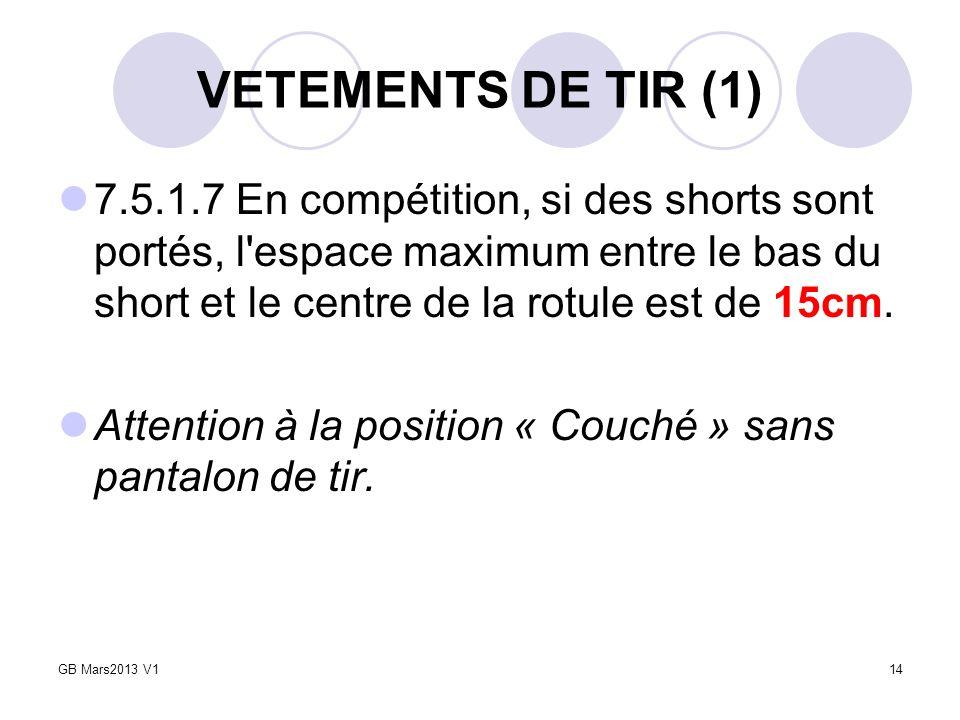 VETEMENTS DE TIR (1) 7.5.1.7 En compétition, si des shorts sont portés, l espace maximum entre le bas du short et le centre de la rotule est de 15cm.
