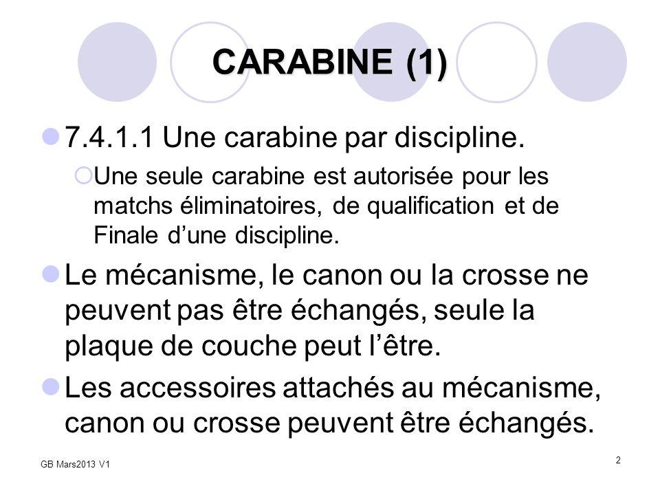CARABINE (1) 7.4.1.1 Une carabine par discipline.