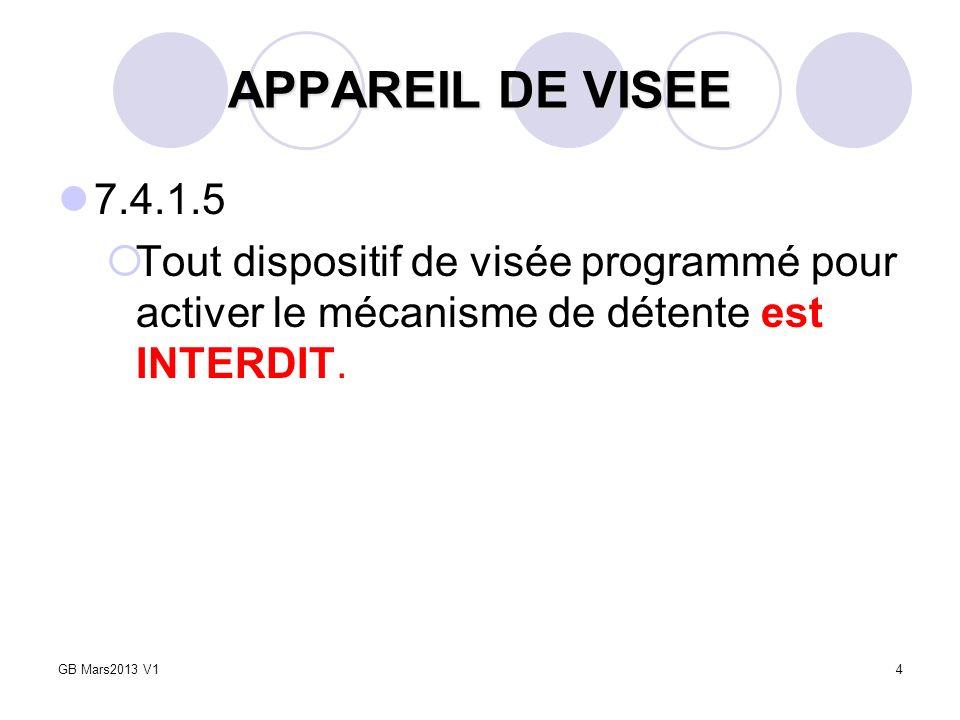 APPAREIL DE VISEE 7.4.1.5. Tout dispositif de visée programmé pour activer le mécanisme de détente est INTERDIT.
