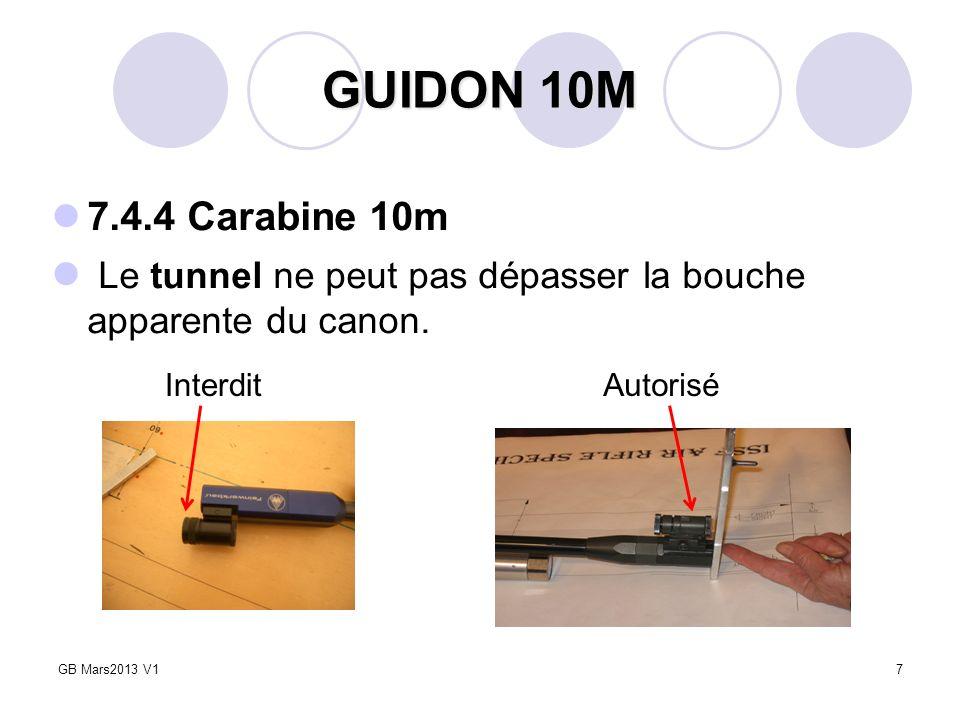 GUIDON 10M 7.4.4 Carabine 10m. Le tunnel ne peut pas dépasser la bouche apparente du canon. Interdit.