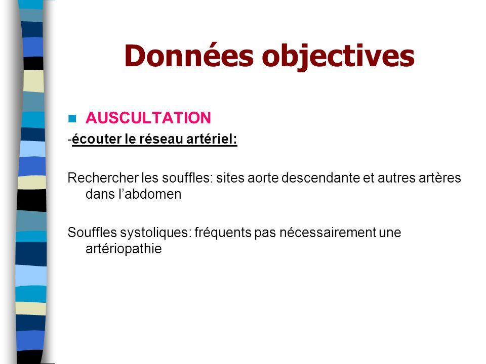 Données objectives AUSCULTATION -écouter le réseau artériel: