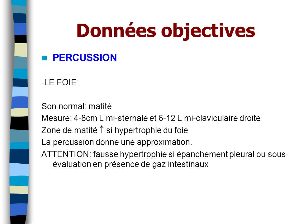 Données objectives PERCUSSION -LE FOIE: Son normal: matité
