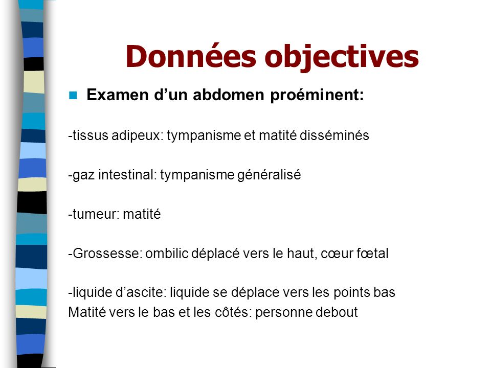 Données objectives Examen d'un abdomen proéminent: