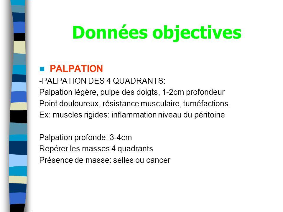 Données objectives PALPATION -PALPATION DES 4 QUADRANTS: