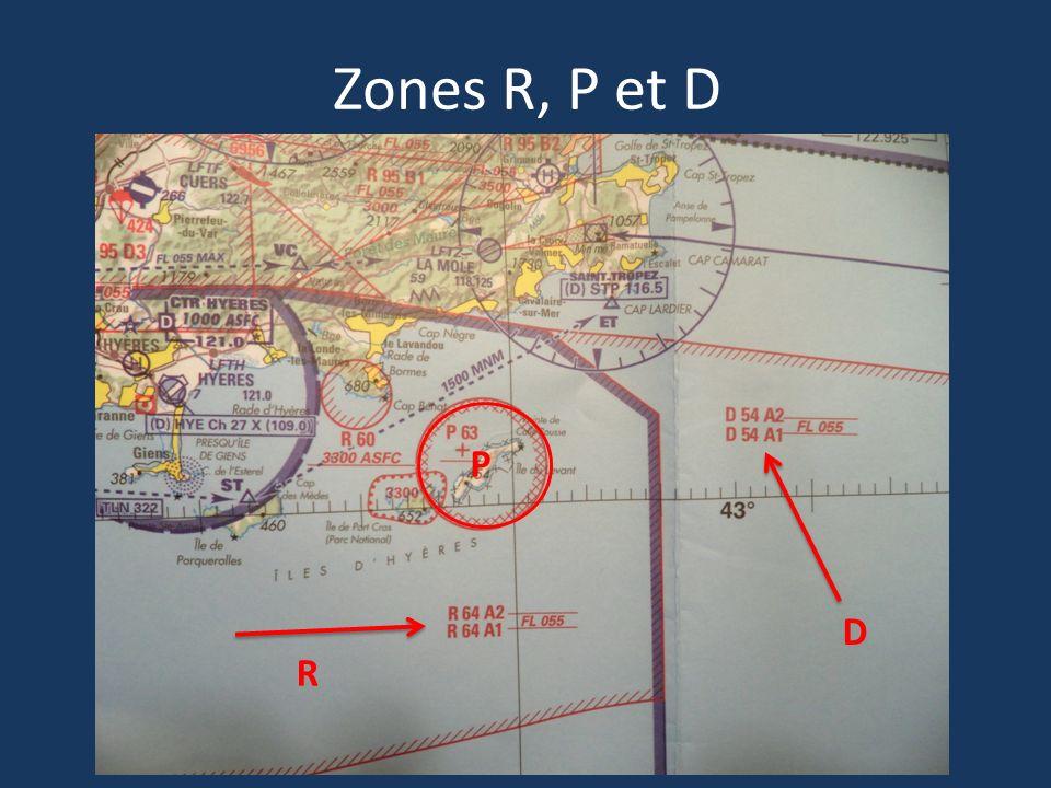 Zones R, P et D P D R