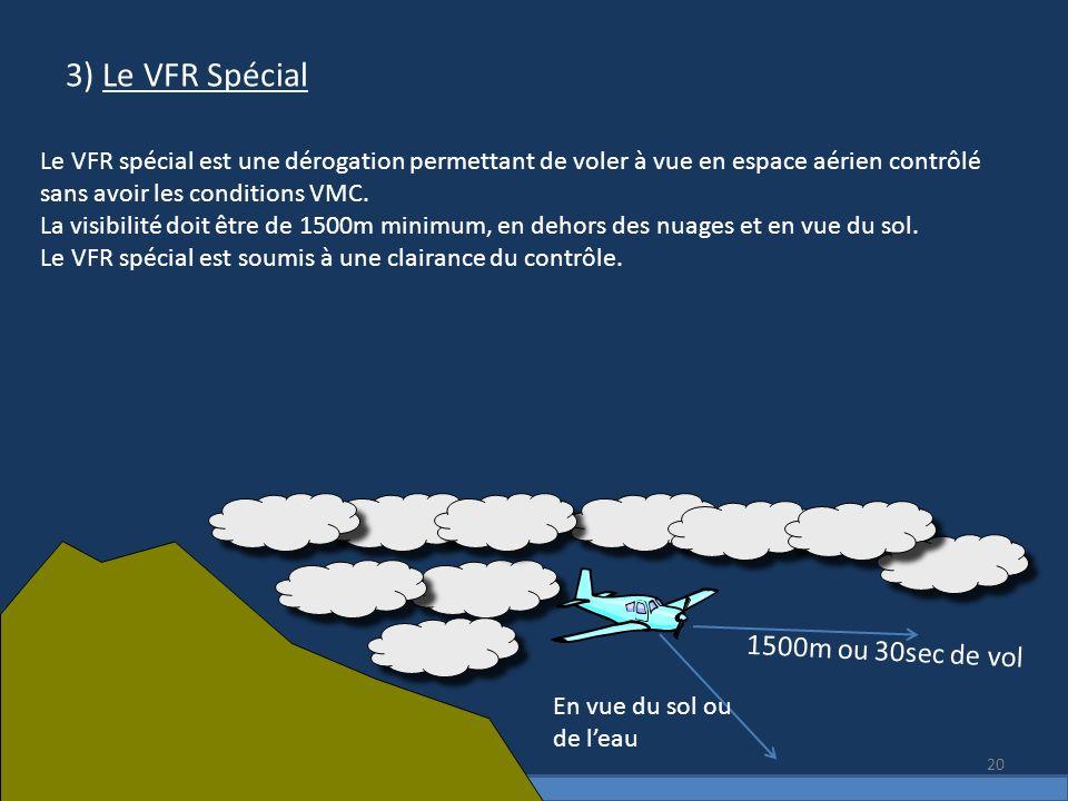 3) Le VFR Spécial 1500m ou 30sec de vol