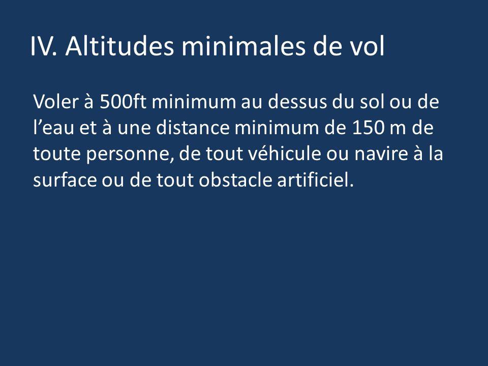 IV. Altitudes minimales de vol