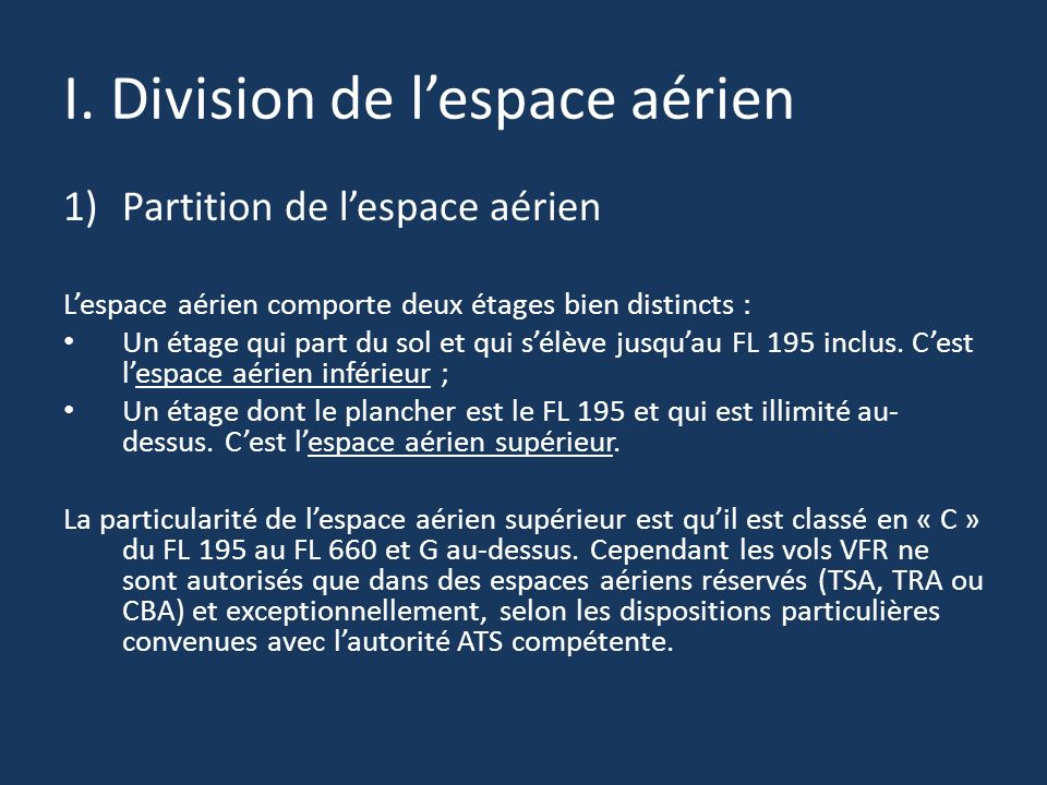 I. Division de l'espace aérien