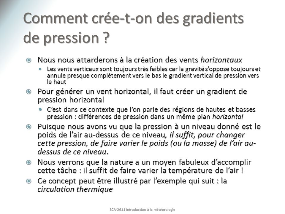 Comment crée-t-on des gradients de pression