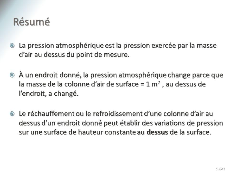 Résumé La pression atmosphérique est la pression exercée par la masse d'air au dessus du point de mesure.