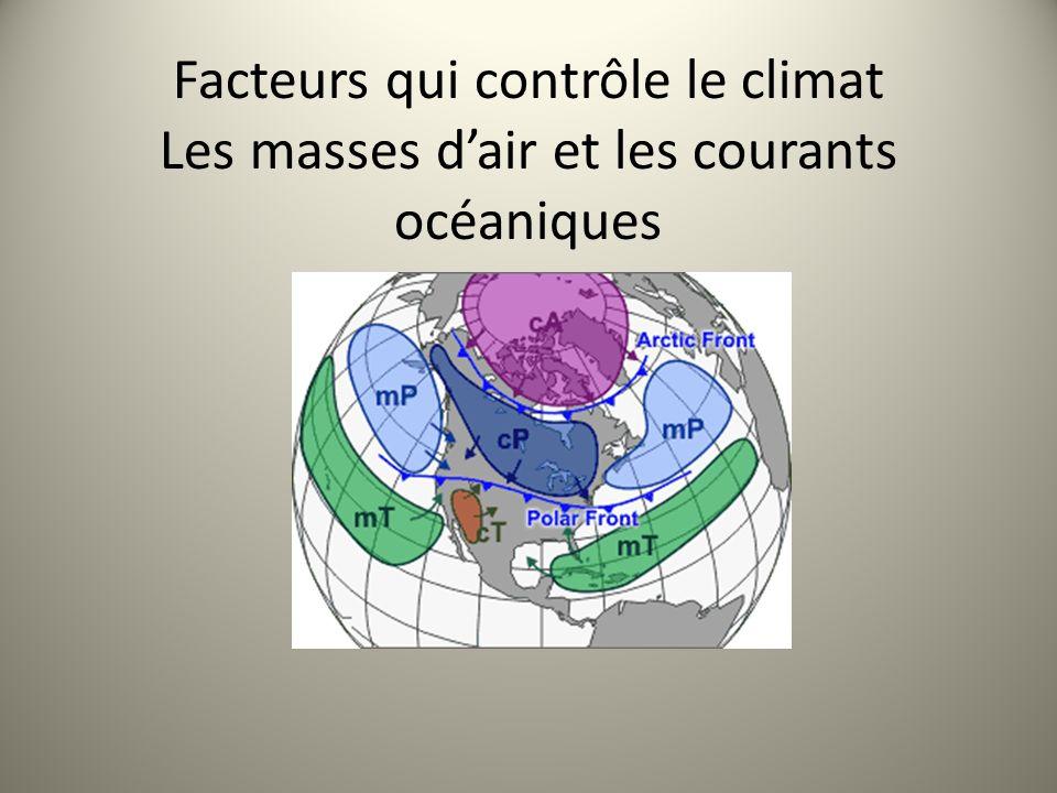 Facteurs qui contrôle le climat Les masses d'air et les courants océaniques