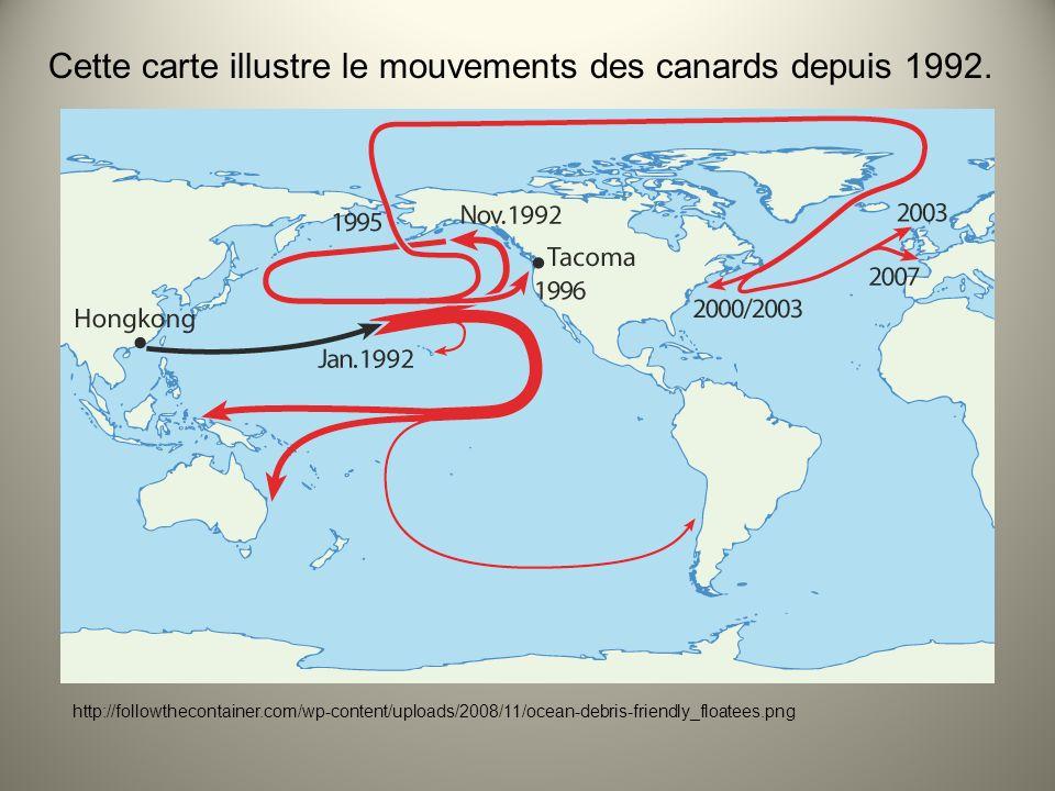 Cette carte illustre le mouvements des canards depuis 1992.