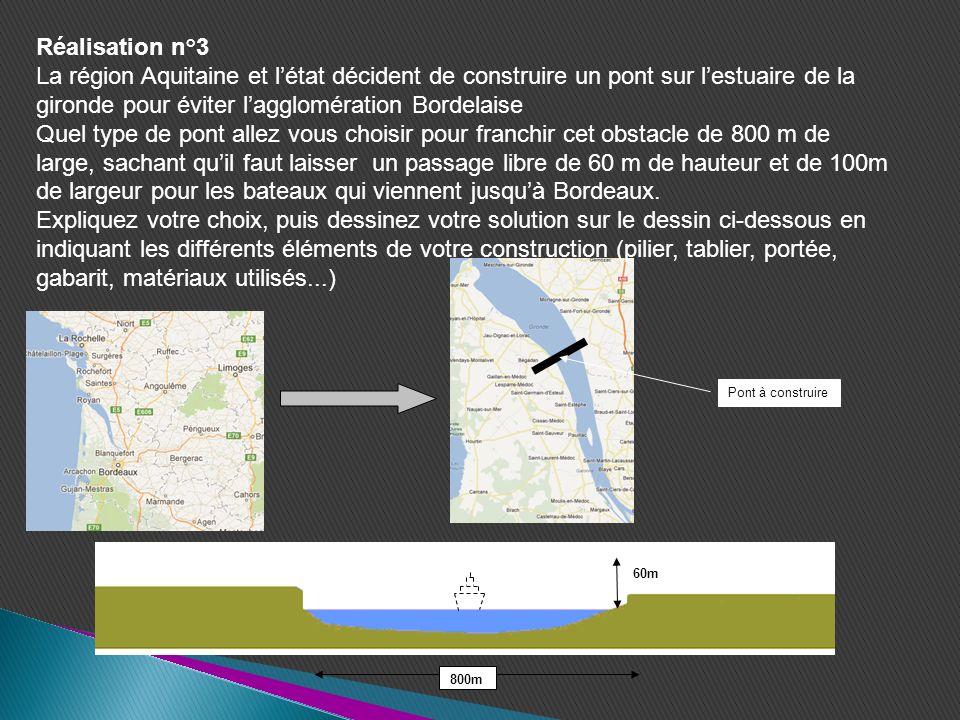 Réalisation n°3 La région Aquitaine et l'état décident de construire un pont sur l'estuaire de la gironde pour éviter l'agglomération Bordelaise.