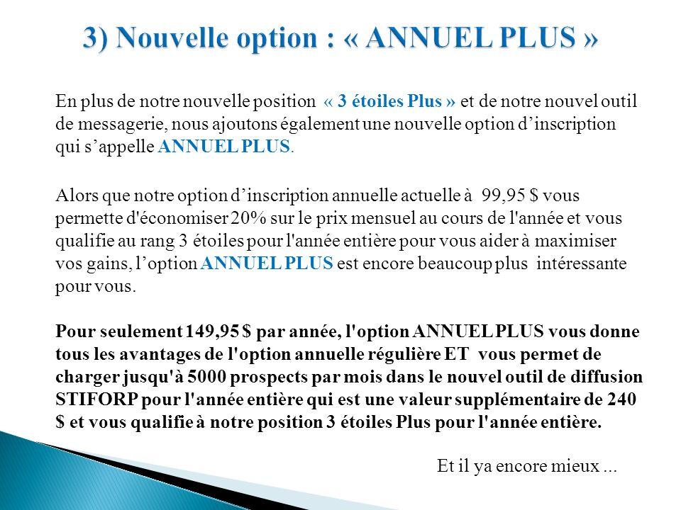 3) Nouvelle option : « ANNUEL PLUS »
