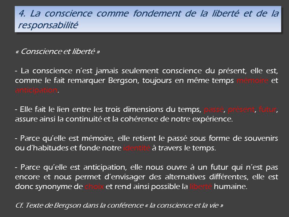 4. La conscience comme fondement de la liberté et de la responsabilité