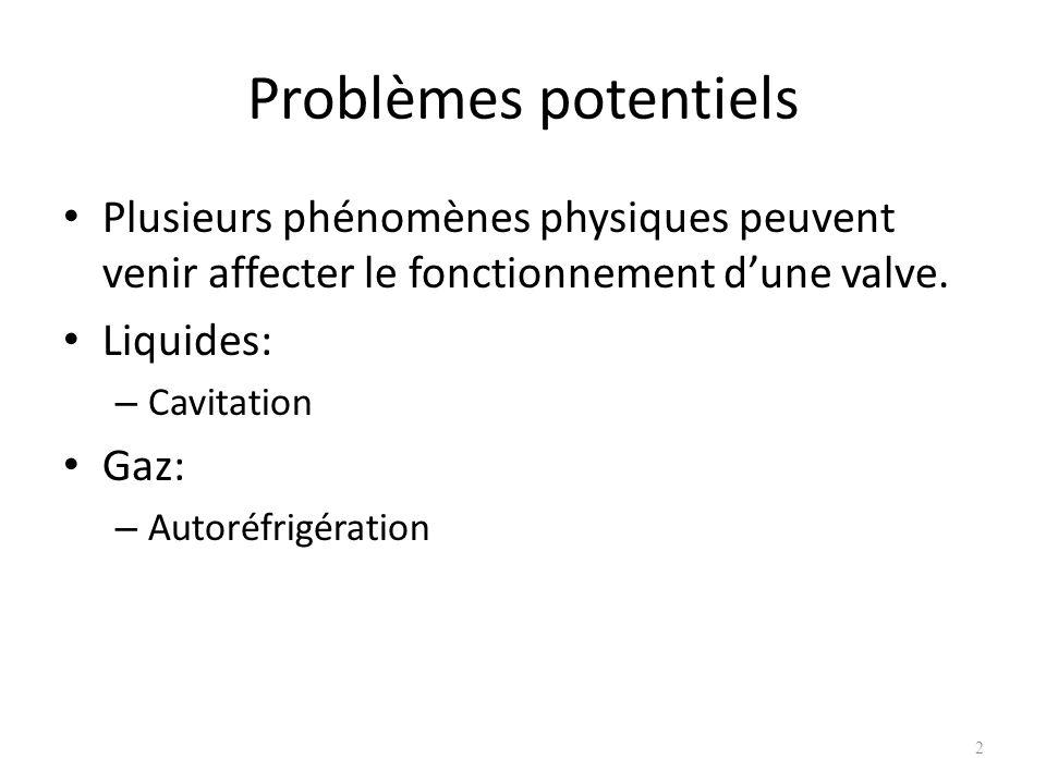 Problèmes potentiels Plusieurs phénomènes physiques peuvent venir affecter le fonctionnement d'une valve.