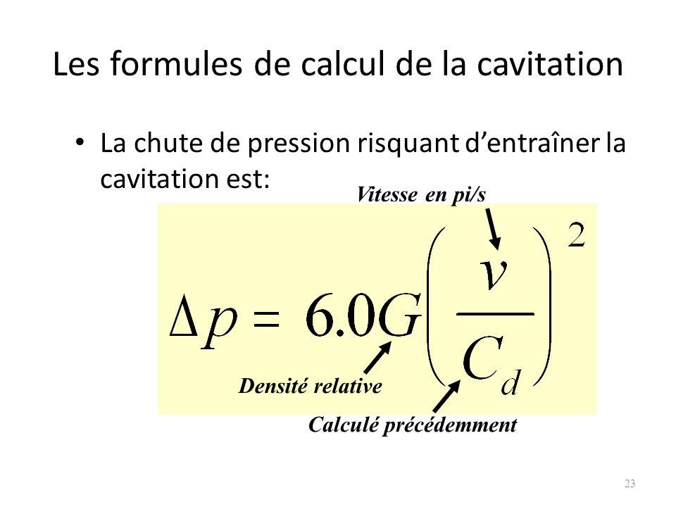 Les formules de calcul de la cavitation
