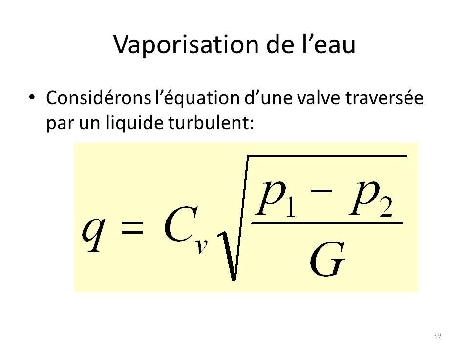 Vaporisation de l'eau Considérons l'équation d'une valve traversée par un liquide turbulent: