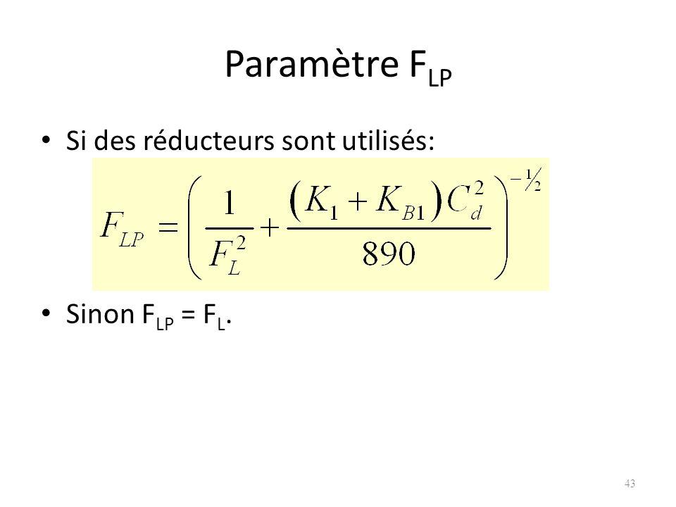 Paramètre FLP Si des réducteurs sont utilisés: Sinon FLP = FL.