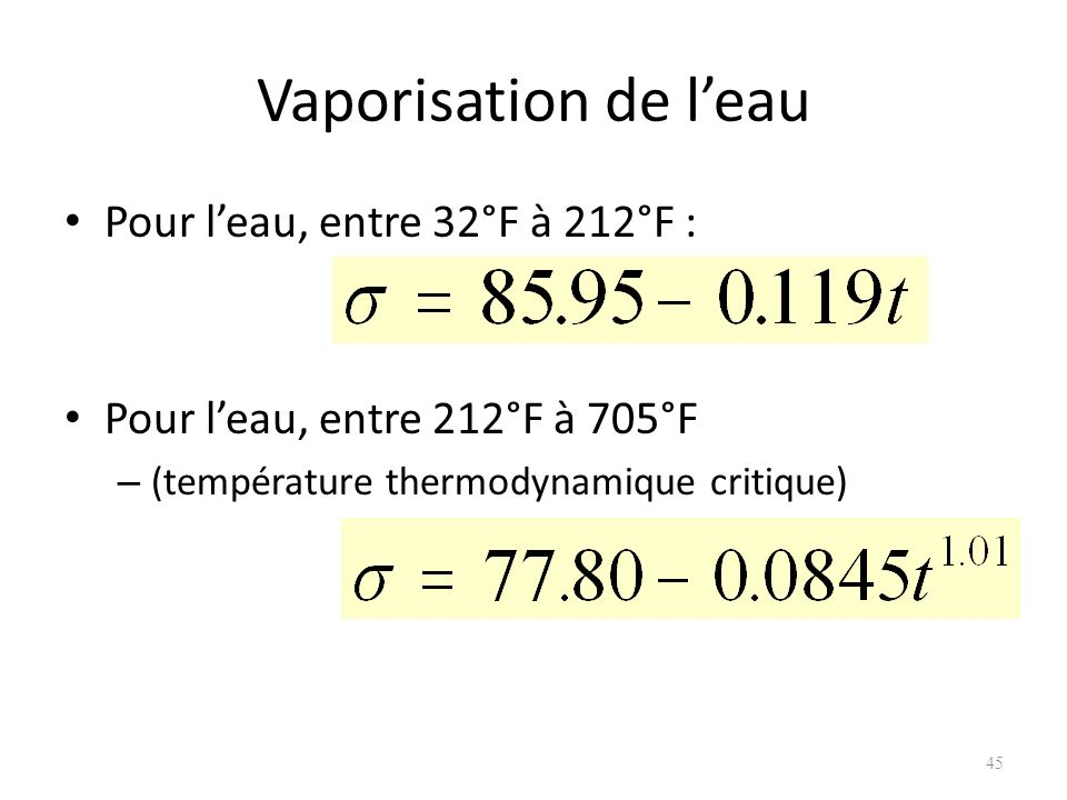 Vaporisation de l'eau Pour l'eau, entre 32°F à 212°F :