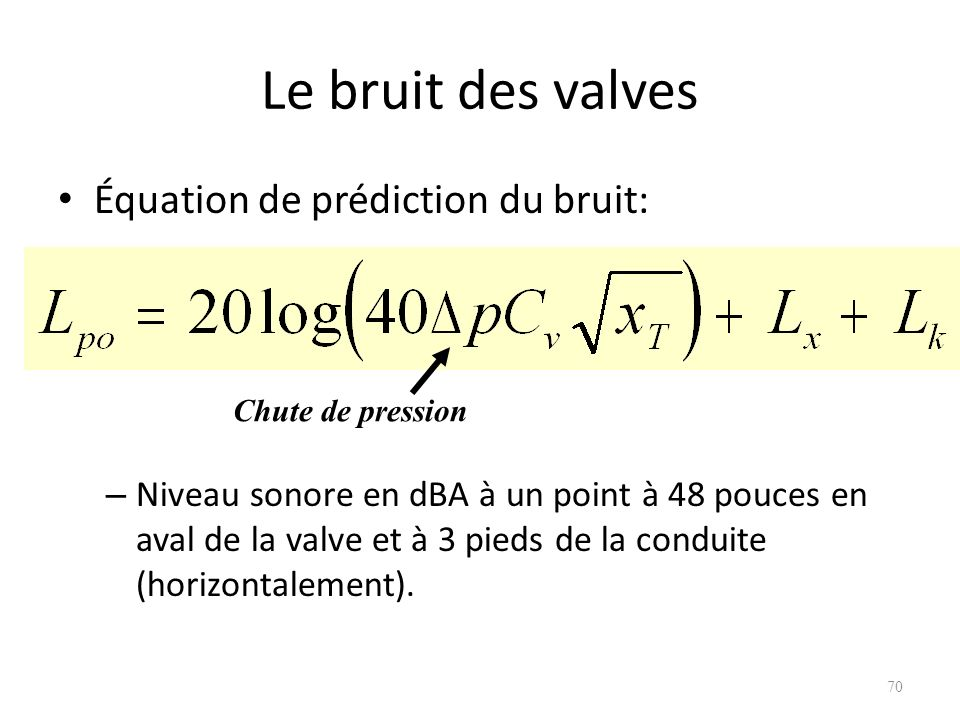 Le bruit des valves Équation de prédiction du bruit: