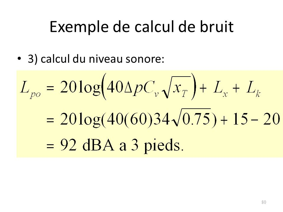 Exemple de calcul de bruit
