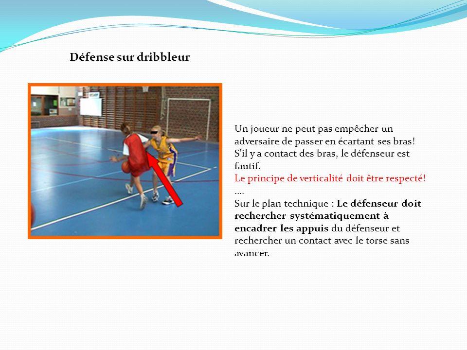Défense sur dribbleur Un joueur ne peut pas empêcher un adversaire de passer en écartant ses bras!