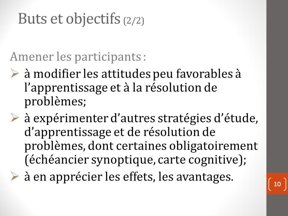 Buts et objectifs (2/2) Amener les participants :