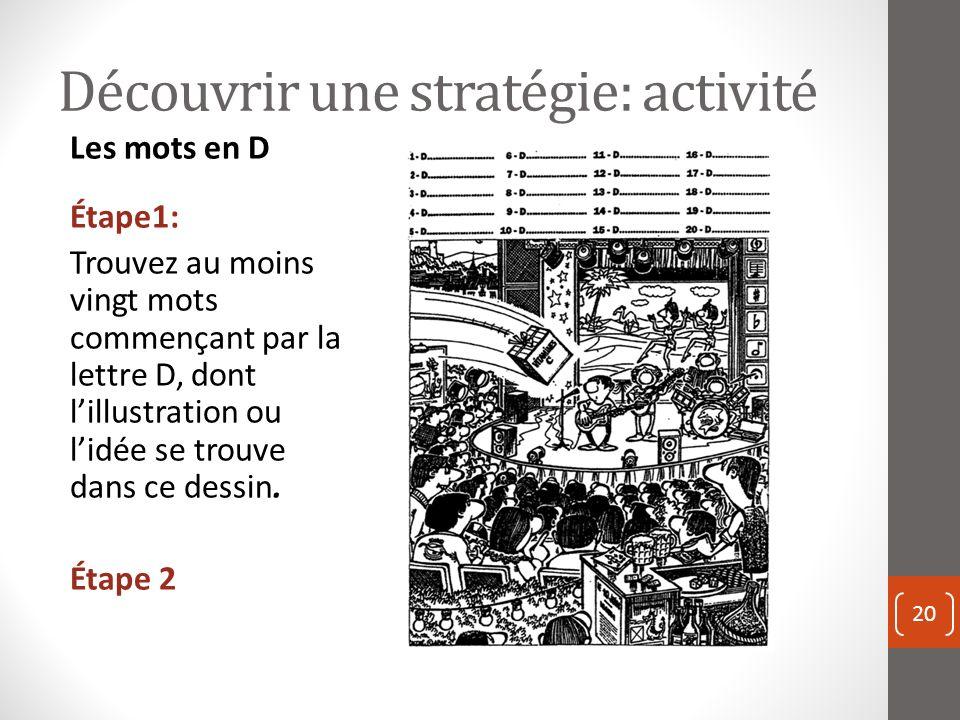 Découvrir une stratégie: activité