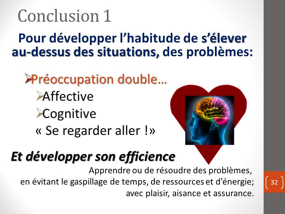Conclusion 1 Pour développer l'habitude de s'élever au-dessus des situations, des problèmes: Préoccupation double…
