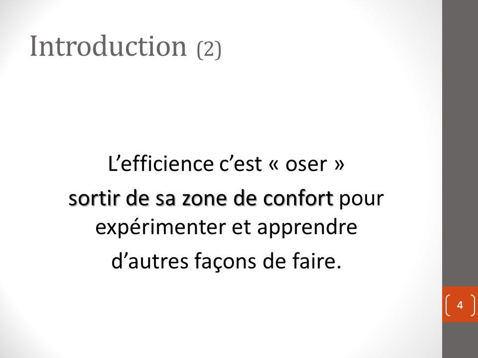 Introduction (2) L'efficience c'est « oser » sortir de sa zone de confort pour expérimenter et apprendre d'autres façons de faire.