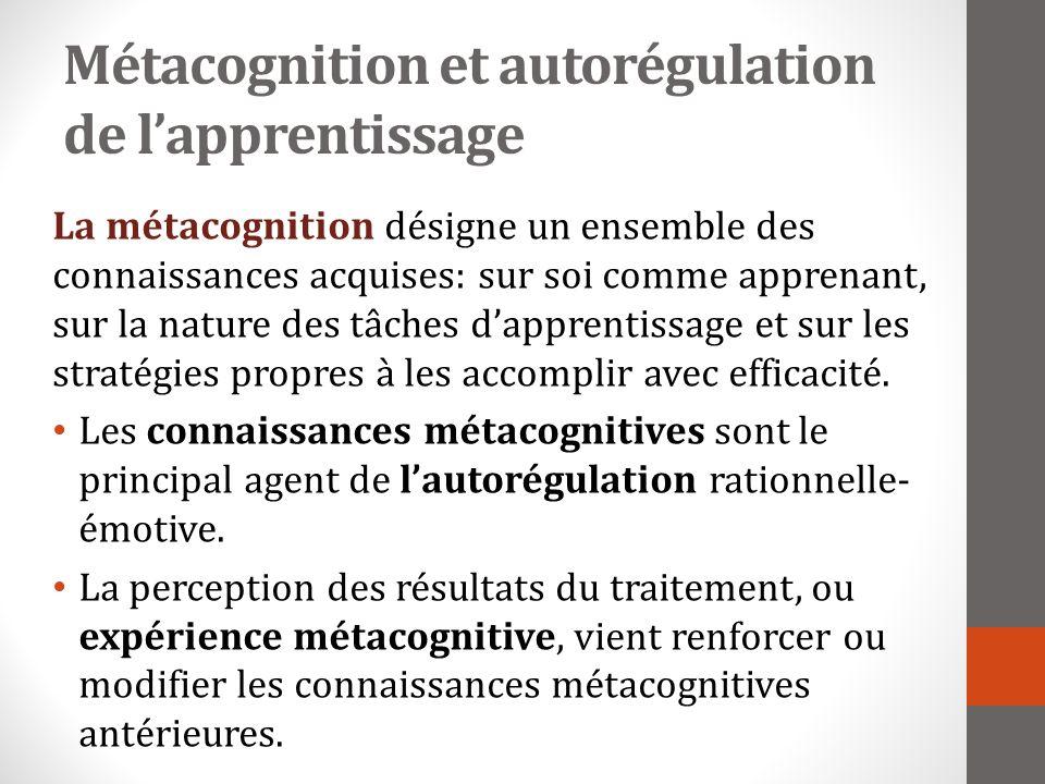 Métacognition et autorégulation de l'apprentissage