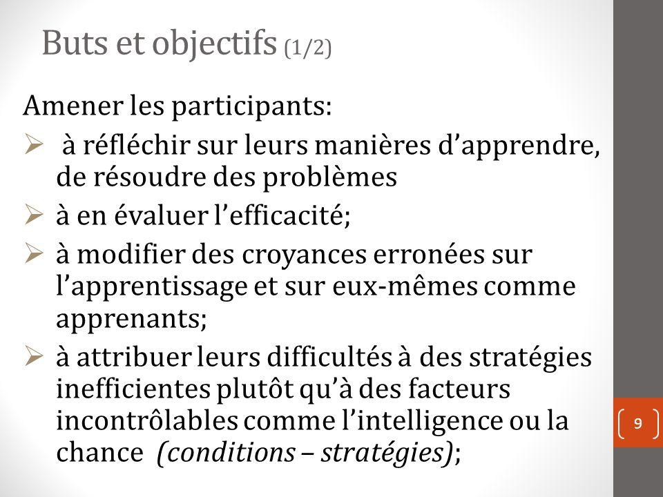Buts et objectifs (1/2) Amener les participants: