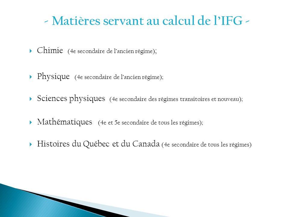 - Matières servant au calcul de l'IFG -