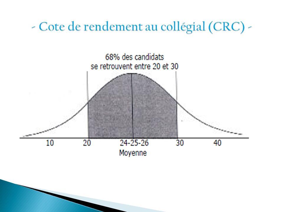 - Cote de rendement au collégial (CRC) -
