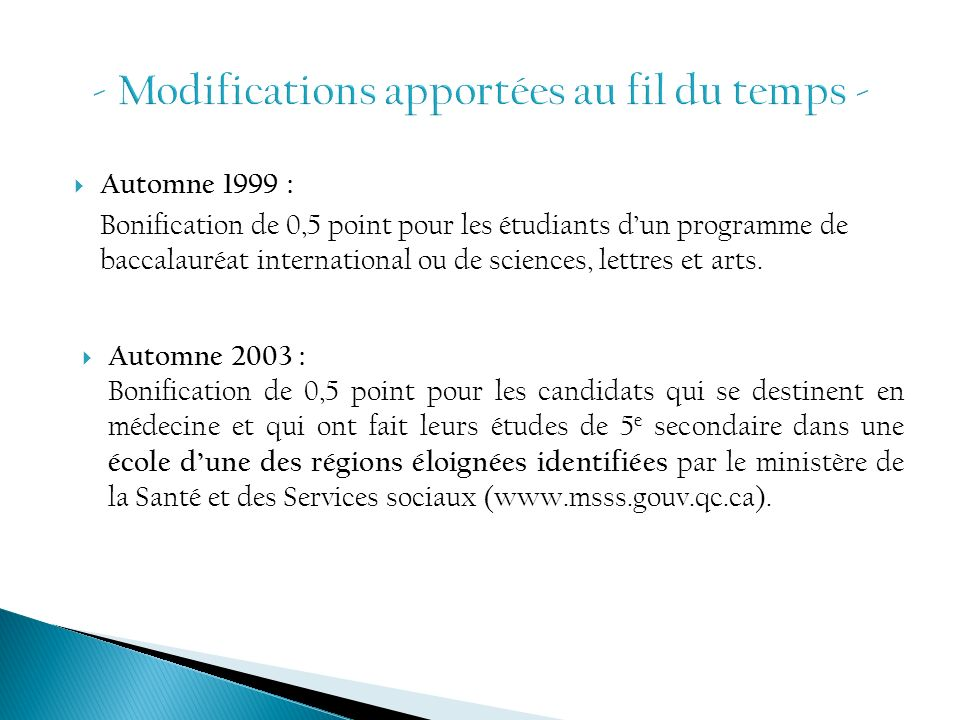 - Modifications apportées au fil du temps -