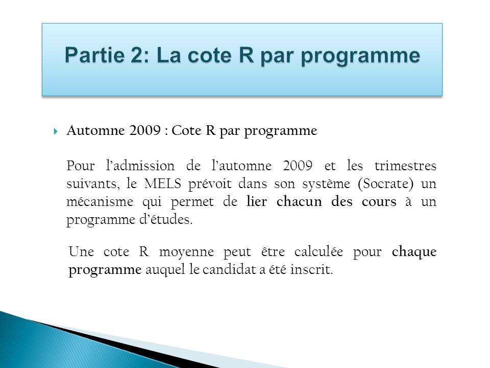 Partie 2: La cote R par programme