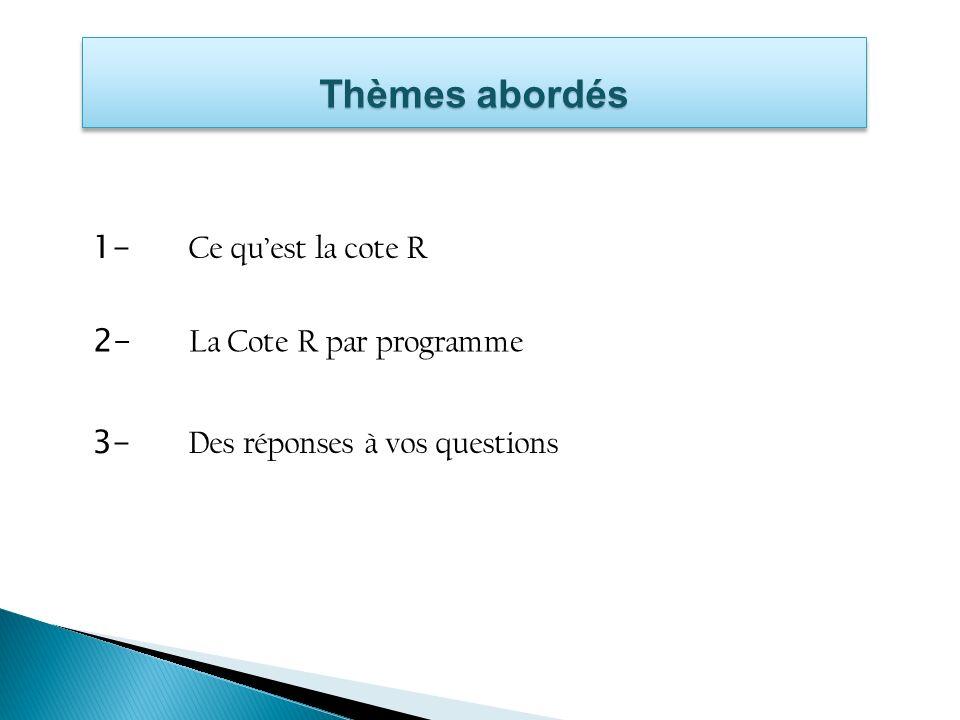 Thèmes abordés 1- Ce qu'est la cote R 2- La Cote R par programme